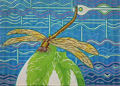 View larger image.Oil Painting H12 canvas painting Nature Dragonfly Vegetable Hakusai Blue by Japanese Artist Fumihiro Kato