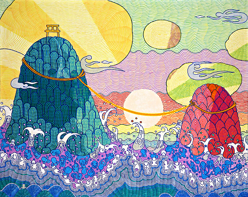 View larger image.Oil Painting 15 canvas painting Couple rocks Landscape Rocks Sea Waves Wind No War No Racial discrimination by Japanese Artist Fumihiro Kato