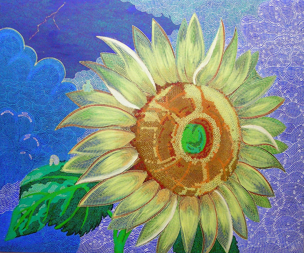 View larger image.Oil Painting 6 canvas painting Sunflower Nature Flowers Night Sky Sun Dark by Japanese Artist Fumihiro Kato